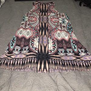 High neck patterned dress
